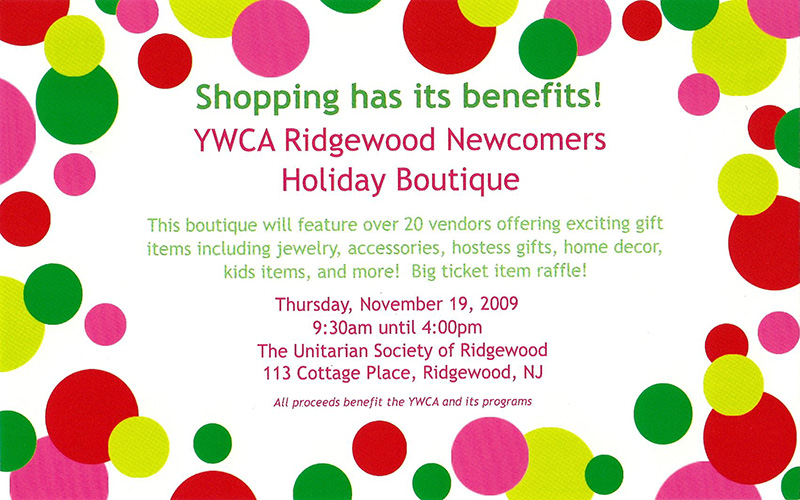 YWCA Ridgewood Newcomers Holiday Boutique