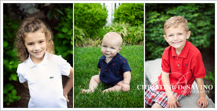 Three individual shots of a beautiful sister and her two little brothers