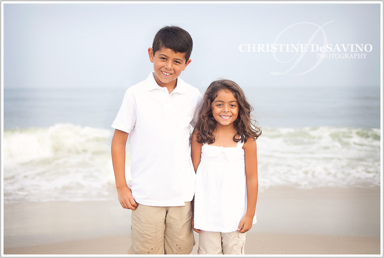 Brother and sister by the oceanside - NJ Beach Photographer