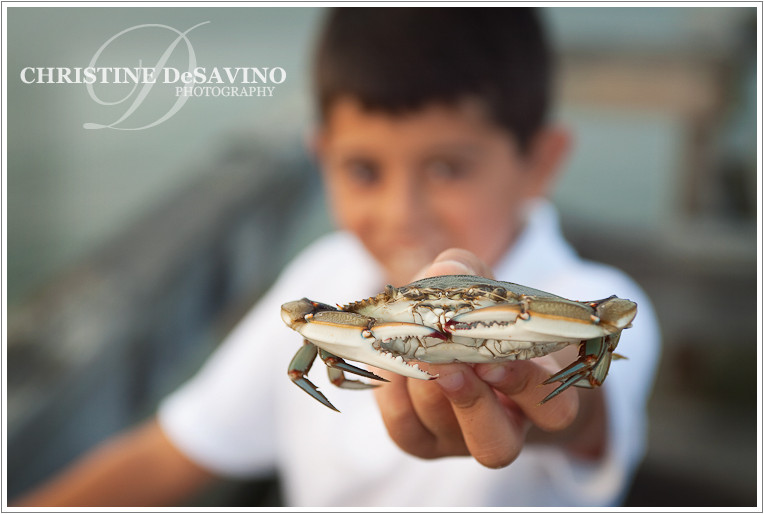 Boy holding crab - NJ Beach Photographer - LBI