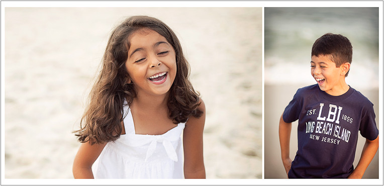 Sister and brother laughing on the beach - NJ Beach Photographer