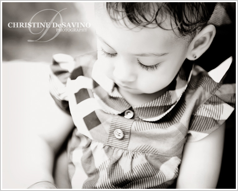 Black and white close up of beautiful one year old girl - NYC Child Photographer