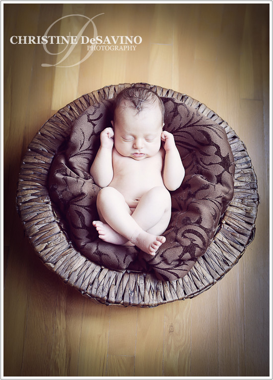Baby boy in basket - NY Newborn Photographer