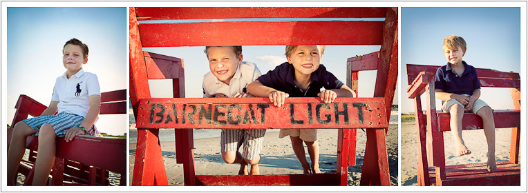 Montage of brothers on lifeguard chair on the beach - NJ Beach Photographer