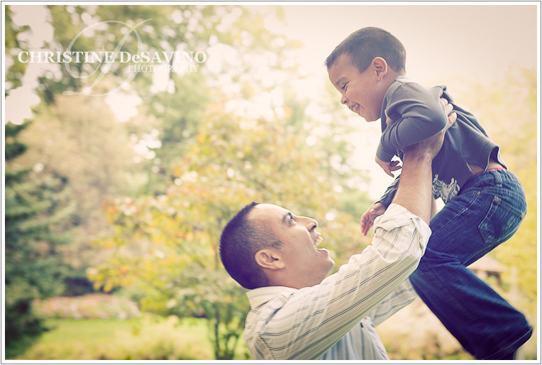 Father holding his son in the air - NJ Children's Photographer