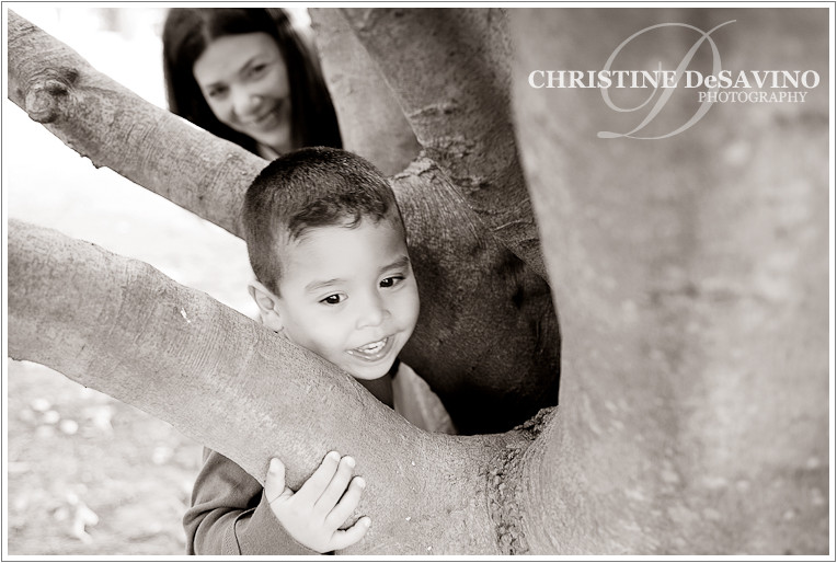 Mother plays hide and seek with her son - NJ Child Photographer