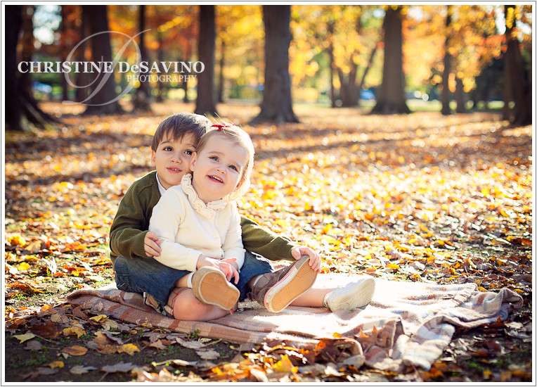 Boy hugging his sister - NJ Child Photographer