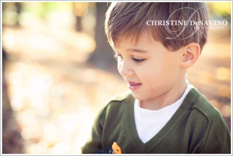 Adorable boy looks down - NJ Children's Photographer