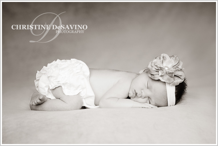 Black and white newborn sleeping - NJ Newborn Photographer