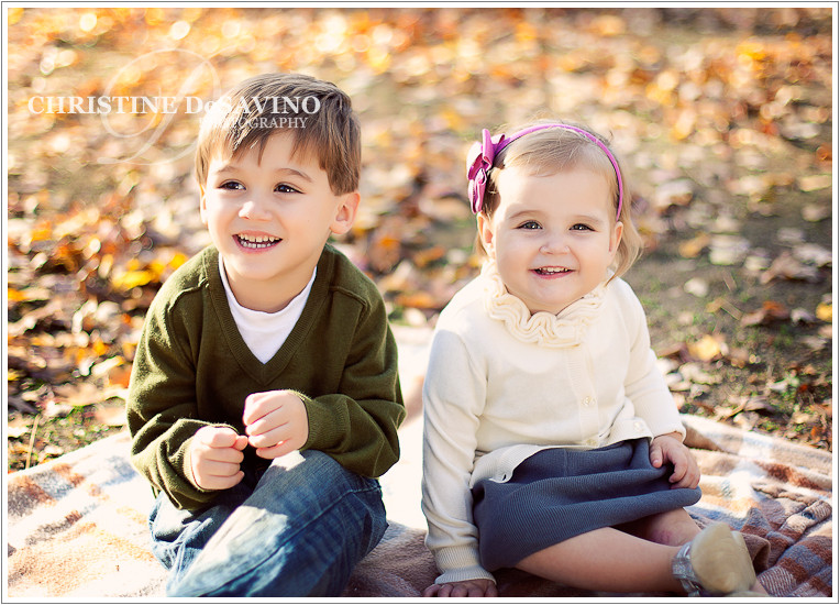 Boy and girl on blanket in autumn - NJ Children's Photographer
