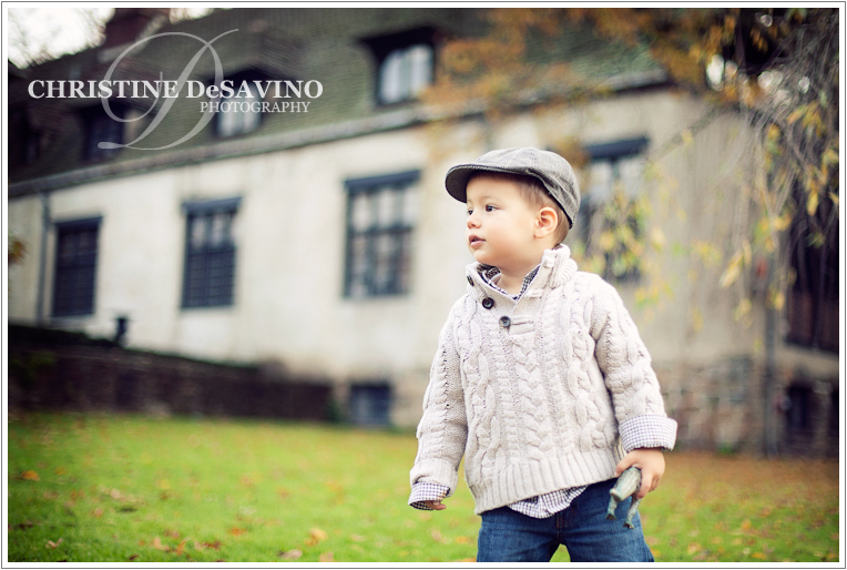 Boy in front of Pleasantdale Chateau - NJ Child Photographer