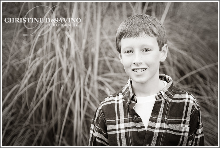 Black and white image of handsome boy - NJ Child Photographer