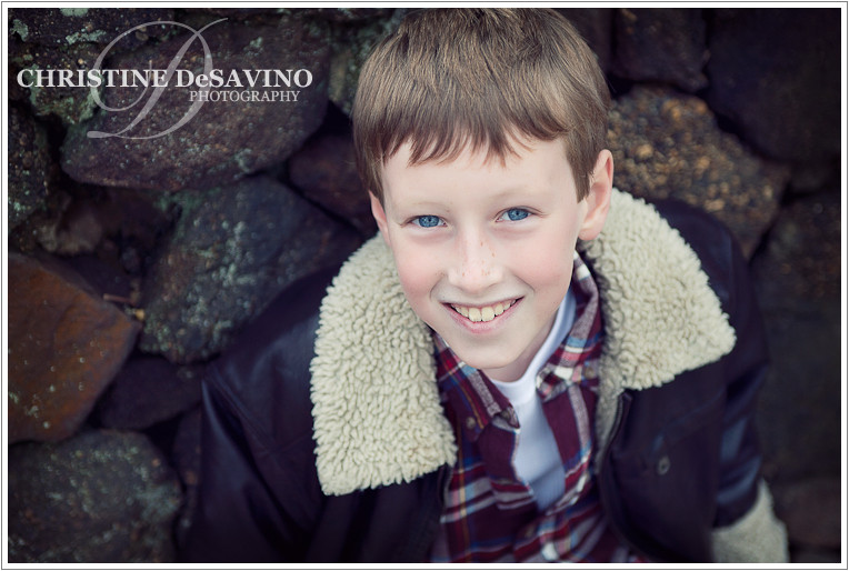 Handsome boy looks up at the camera - NJ Child Photographer