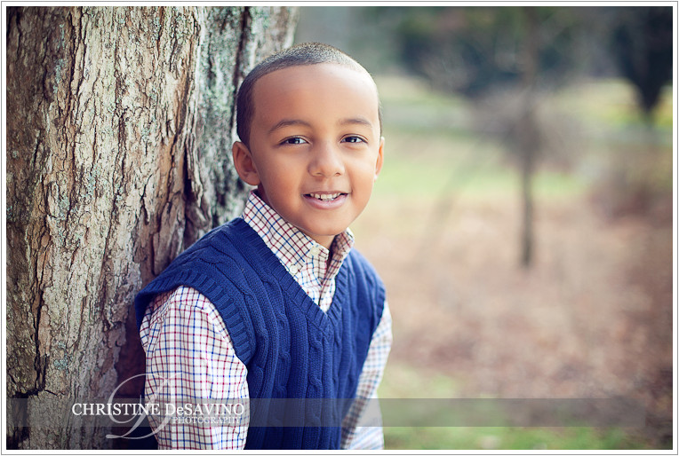 Boy leaning against tree - NJ Child Photographer