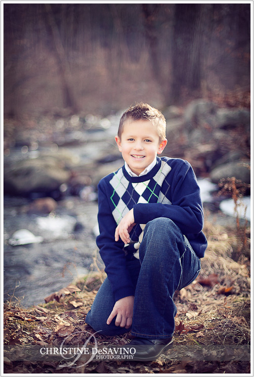 Kneeling by a stream - NJ Children's Photographer