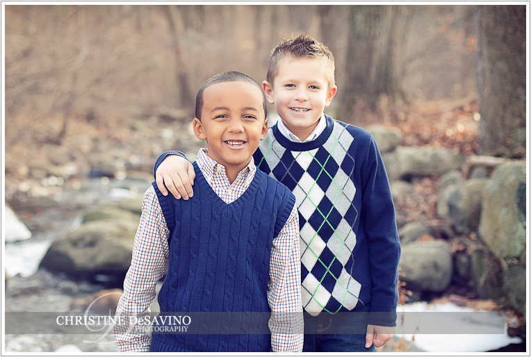 Handsome cousins by a stream - NJ Child Photographer