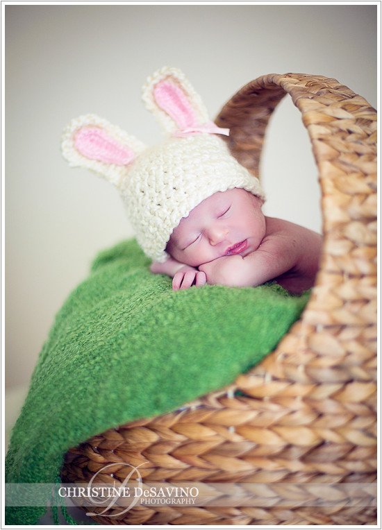 Newborn Easter Baby with bunny ears - NJ Newborn Photographer