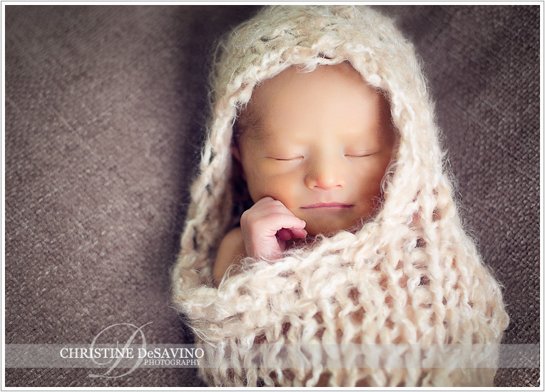 Newborn in peanut wrap - NJ Newborn Photographer