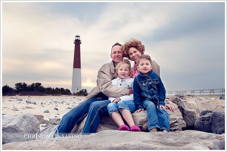 Family portrait by the Barnegat Lighthouse - NJ Beach Photographer