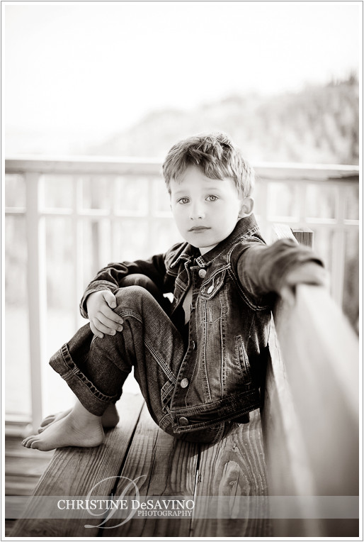 Black and white of boy on gazebo - NJ Beach Photographer