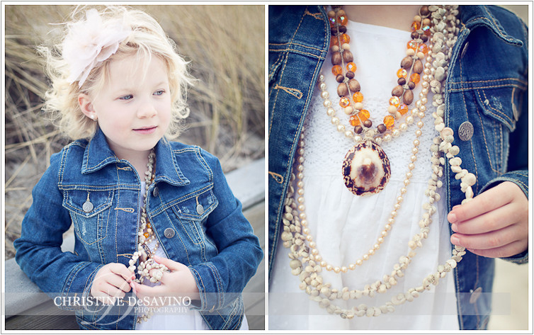 Beautiful girl on dunes & close up of her necklace - NJ Child Photographer
