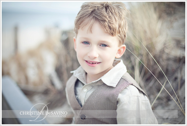 Beautiful boy on dunes - NJ Child Photograper