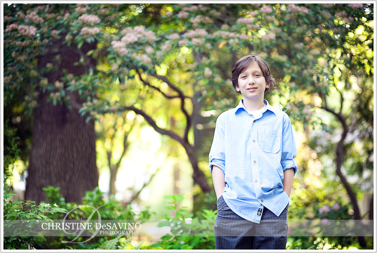 Handome boy with trees in background - NJ Children's Photographer