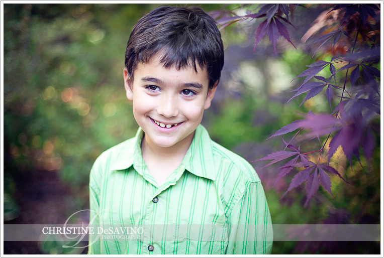 Boy with leaves - NJ Child Photographer