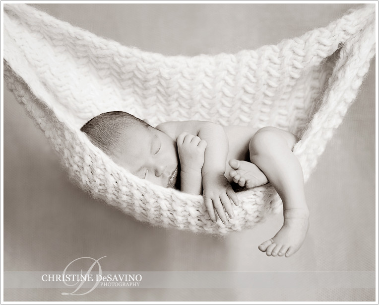 Newborn girl in hammock - NJ Newborn Photographer