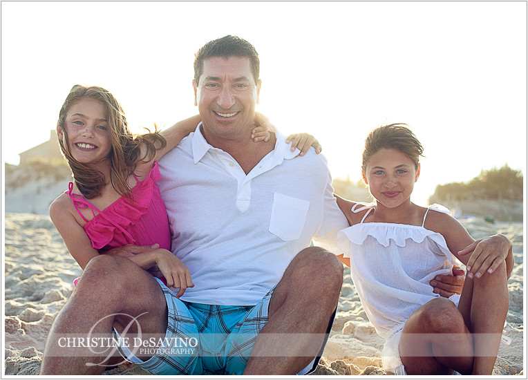 Dad with daughters - NJ Beach Photographer