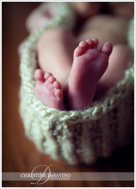 Newborn feet in cocoon -  NJ Newborn Photographer