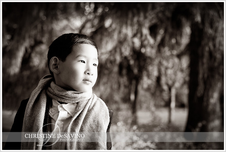 Beautiful black and white of boy at NJ Botanical Gardens - NJ Child Photographer