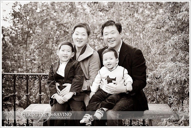 Beautiful black and white of family at NJ Botanical Gardens - NJ Family Photographer