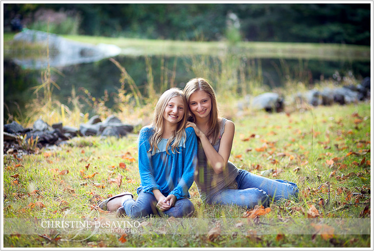 Portrait of sisters by a pond - NY Portrait Photographer