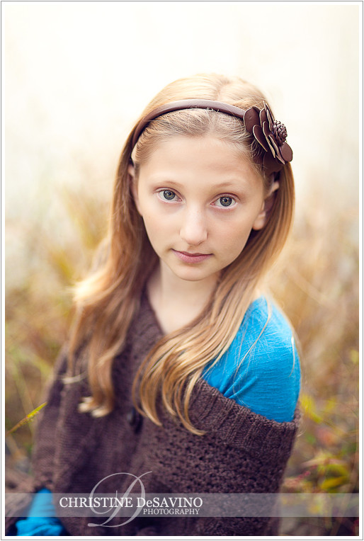 Beautiful girl with flower headband - NY Portrait Photographer