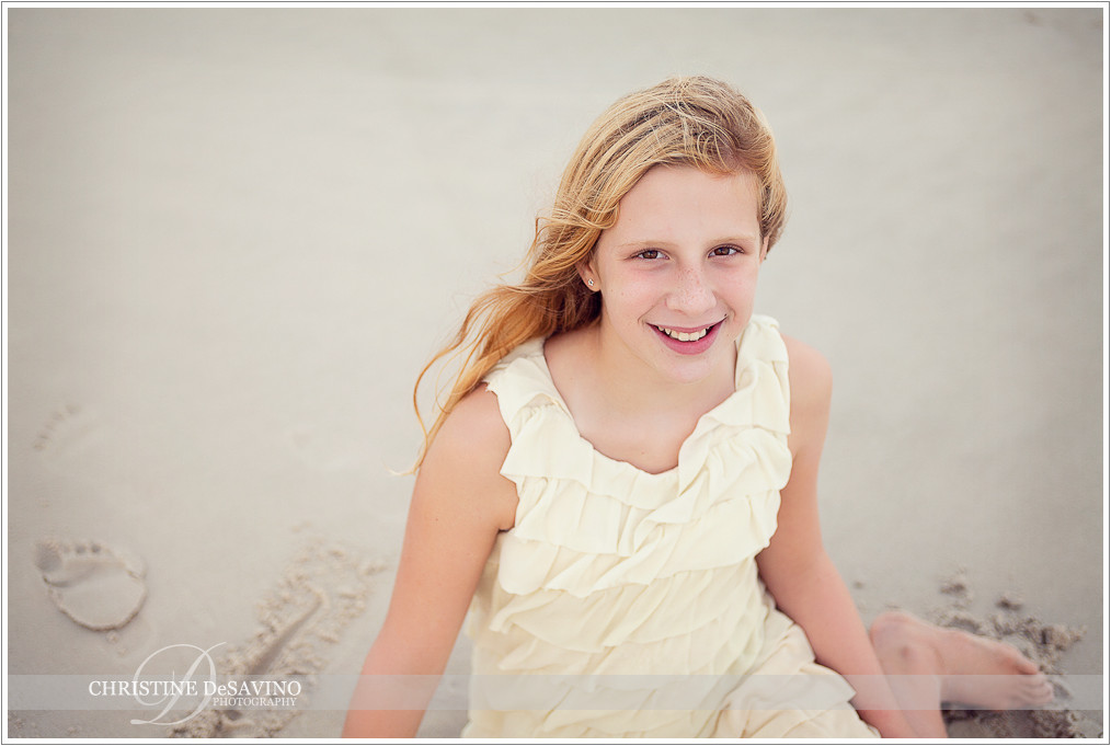 Girl sitting on beach - NJ Beach Photographer